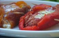 Barchette di peperone, cotto e sottiletta